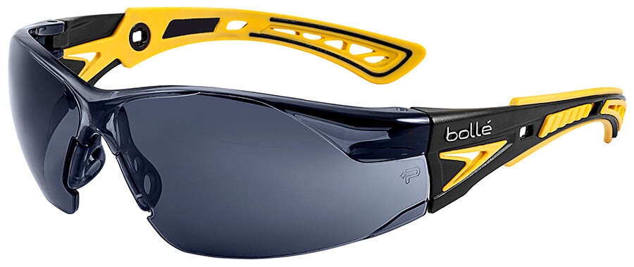 de1cdd722d Bolle Rush Plus Small Safety Glasses with Black Yellow Temples and Smoke  Platinum Anti-Fog Lens